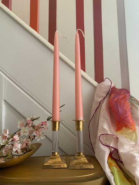 Small Brass and Perspex Candlesticks