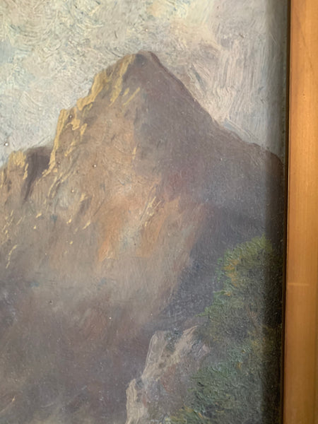 Mountain and Sky: Antique Oil on board