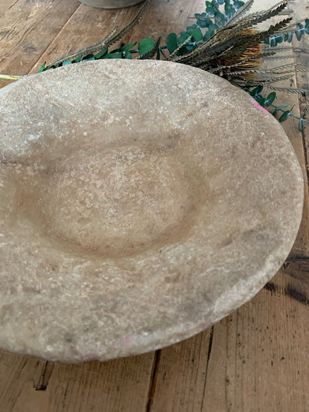 Large Beige Antique Marble Stone Bowl