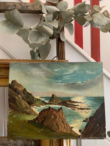 Jersey Seascape 1: Teeny Antique Oil on Canvas