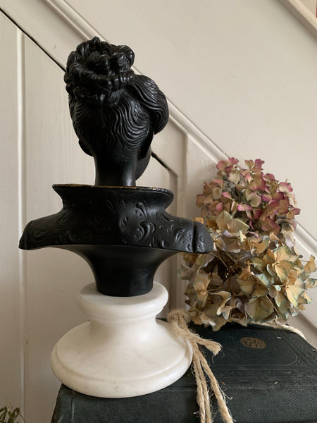 Black Lacquered Bust on Alabaster Base