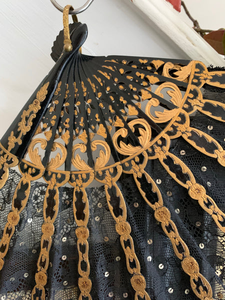 Black Lace, Gold and Sequin Fan