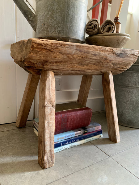 Large Primitive Swedish Wood Stool/Sidetable