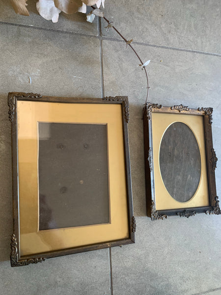 Pair of small rustic metal gilt frames