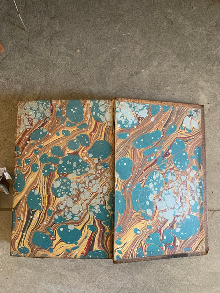 Old Leather Book with Marbled Pages