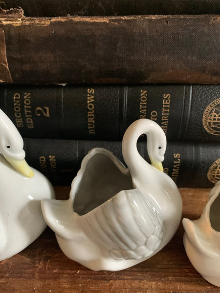 Trio of Porcelain Swans