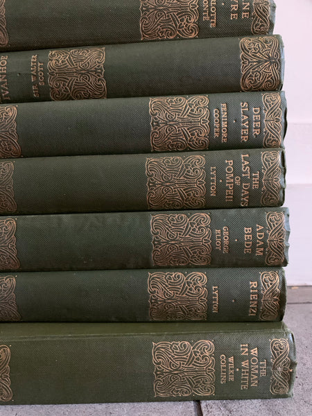 Set of 20 Cassells Standard Library books with green covers