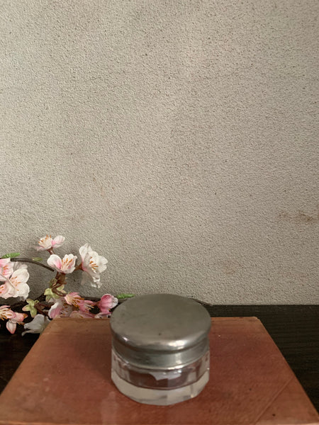 Tiny Edwardian Jar with Silver-Plated Lid