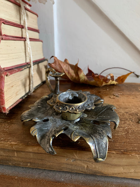 """Leaf"" Gilt & Pewter Candleholder"