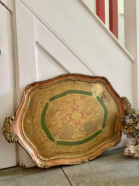 Florentine Wood Gilt Tray - Pink & Green