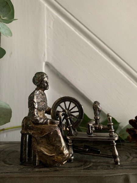 Little English Pewter Figurine -Woman with Spindle