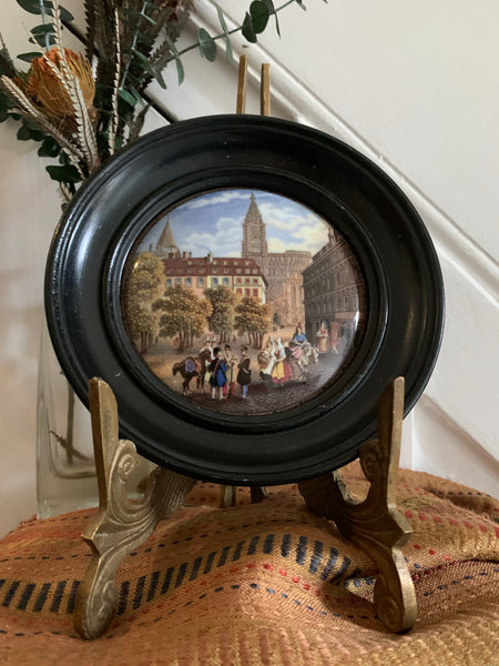 Miniature Framed Convex Porcelain of a Town Sqaure
