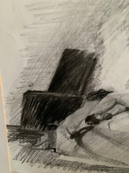 Original Charcoal Portrait - Woman on a Bed