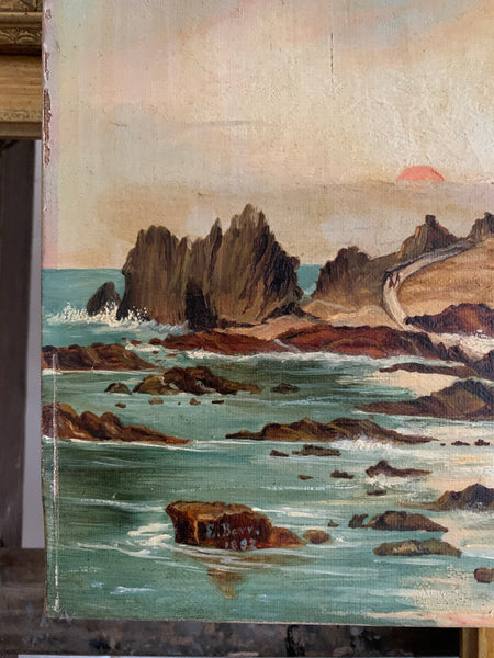 Jersey Seascape 2: Teeny Antique Oil on Canvas