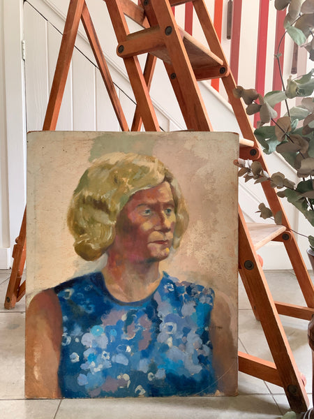 Double-Sided Oil on Board. Lady in Blue and Gentleman in Suit