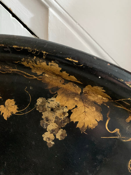 Oversized 19th Century Papier Mache Tray with Gold Foliage