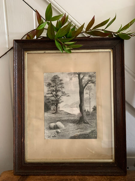 Vintage Pencil on Paper: A Country Scene