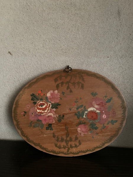 Mini Oval Floral Antique Oil on Wood