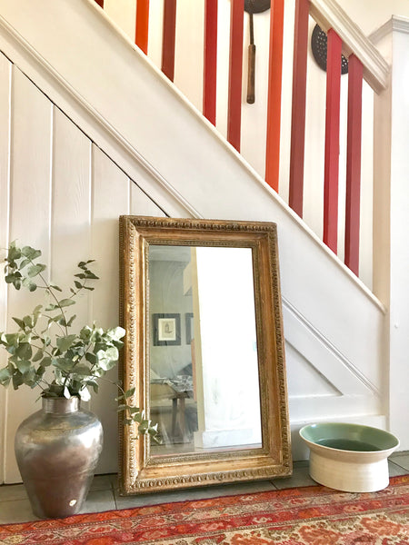 Large Rustic Vintage Mirror with ornate frame in gold and beige