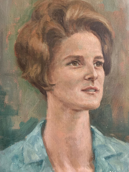1960s Portrait of a Lady - Oil on Canvas