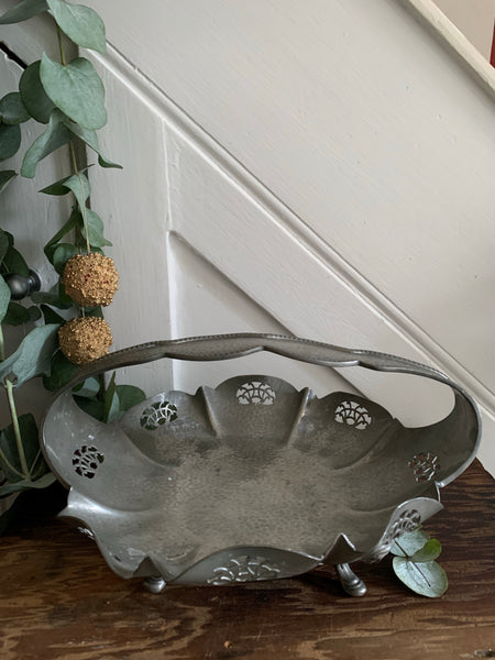 Antique Pewter Basket