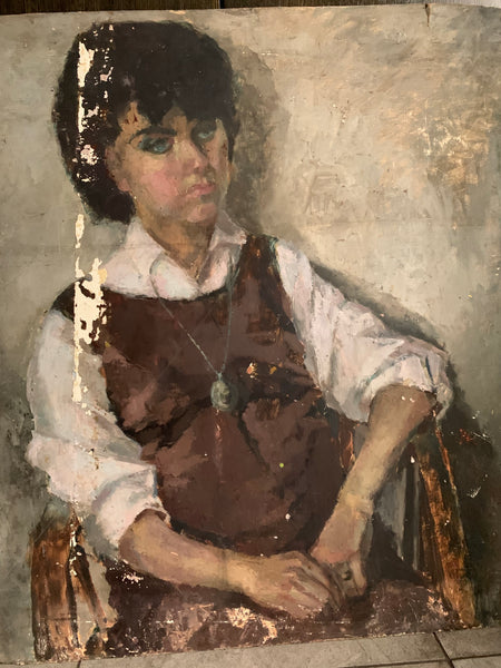 Rustic Portrait of a Lady - Large Oil on Board