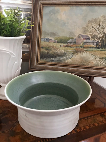 Vintage Studio Pottery Green & White Bowl