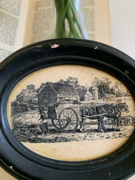 Miniature Oval Etching: Horse & Carriage