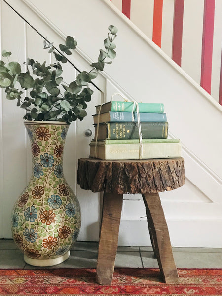 Rustic Stool/Sidetable carved from one piece of wood