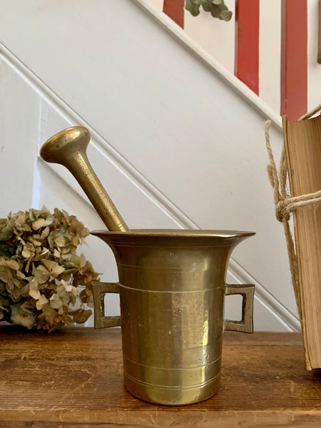 Large Antique Brass Pestle and Mortar