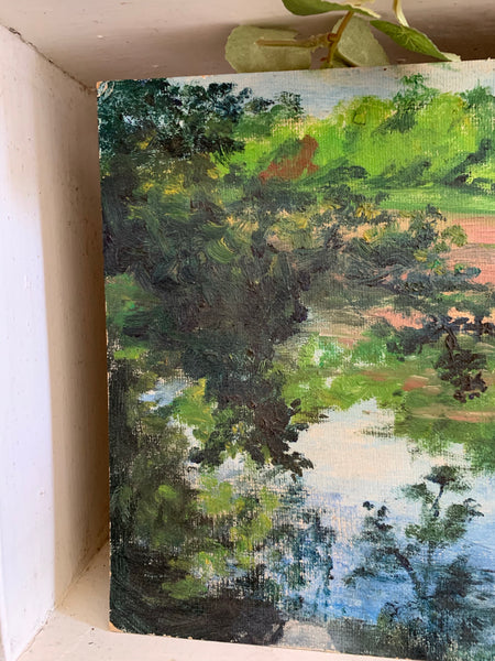 Watery Forest: Teeny Oil on Board