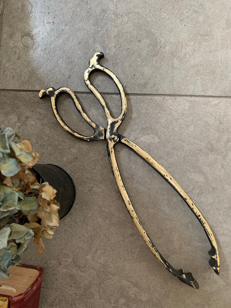 Large Gold and Black Vintage Coal Tongs