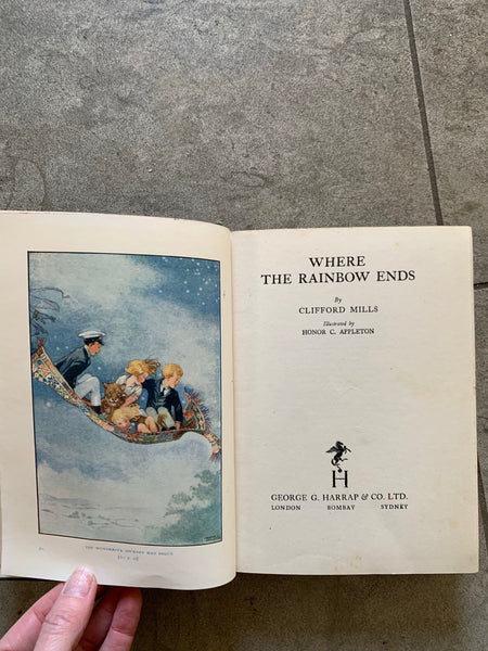 """Where the Rainbow Ends"" - vintage book in blue tones"