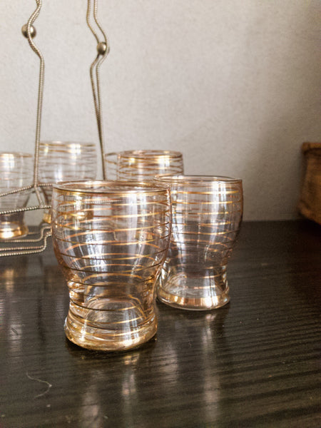 Midcentury Gold Shot Glasses with stand
