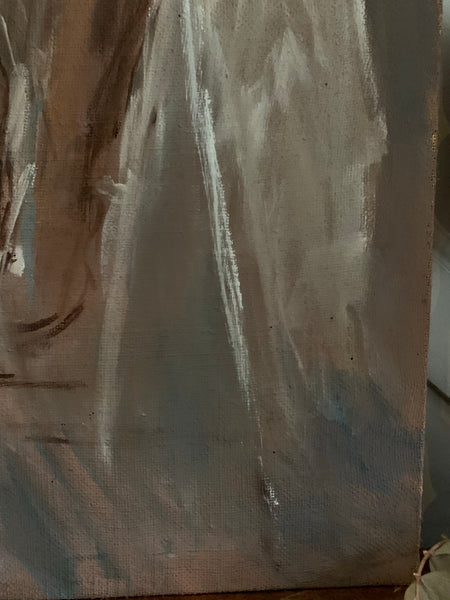 Nude Portrait In Neutral Hues- Oil on Streched Hessian Cloth