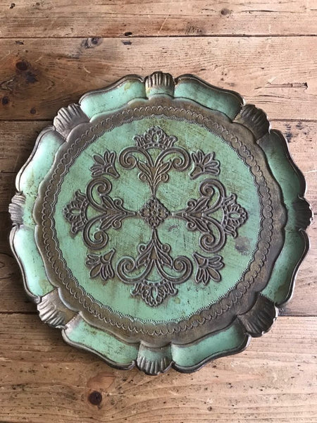 Mint Green Florentine Gilt Tray