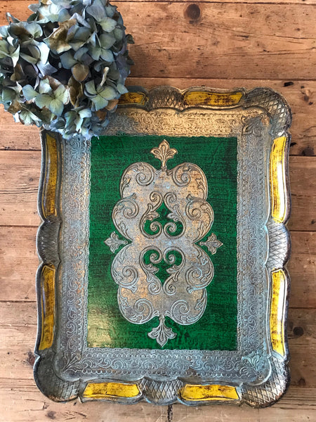 Large Green Florentine Wood Gilt Tray