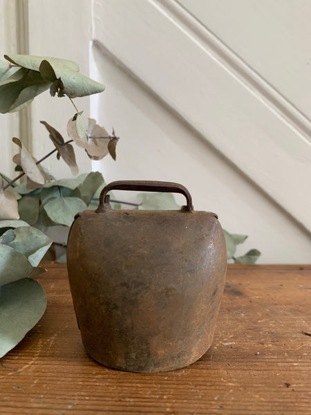 Old Iron Cow Bell with floral detail