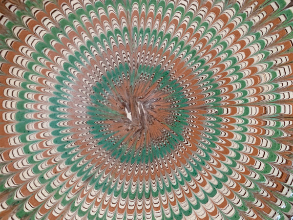 Decorative Patterned Plate in greens and earthy colours