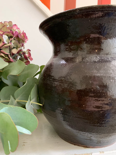 Chocolate Brown Glazed Vase