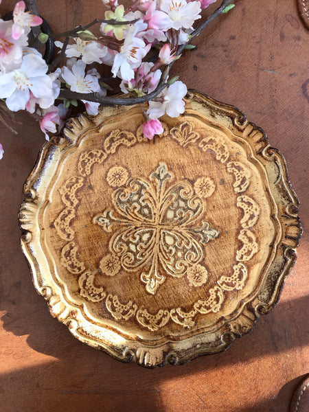 Small Gold Florentine Vintage Gilt Tray