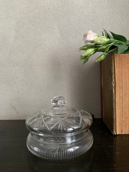 Edwardian Large Cut-Glass Jar with Lid