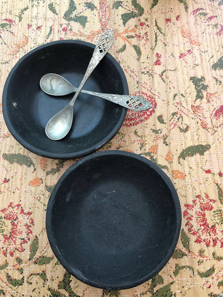 Little Antique Black Marble Ramekin Dishes