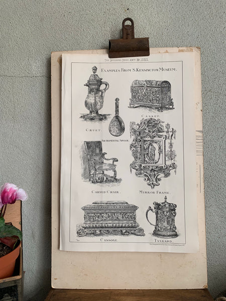 19th century bookplate of exhibits from the South Kensington Museum