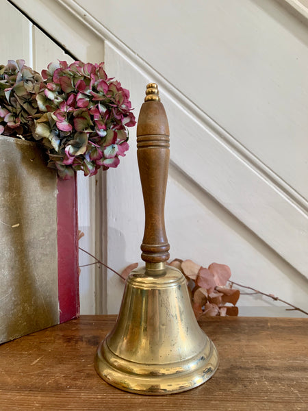 Large Vintage Brass Handbell with Wooden Handle