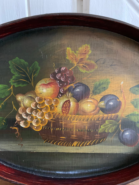 Nest of Three Trays with Hand-Painted Still-Life