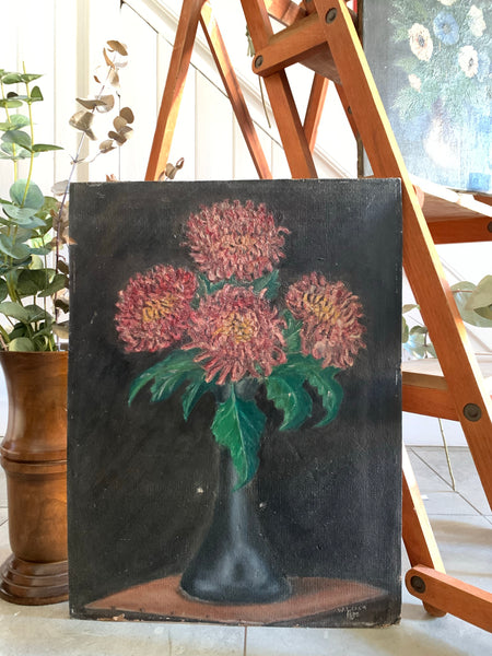 Signed Original French Floral Oil on board