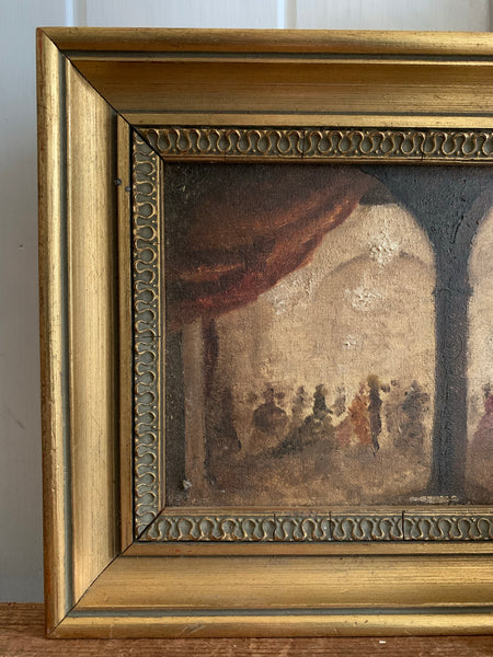 Little Antique Oil of a Ballroom with Gilt Frame