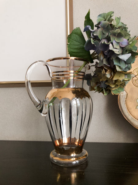 Midcentury Glass and Gold Jug