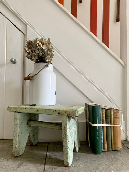Small Rustic Mint Green Painted Stool